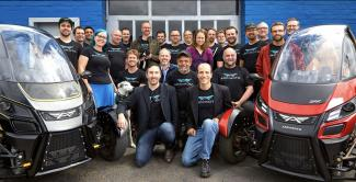 The Arcimoto Team with their new EV, the SRK